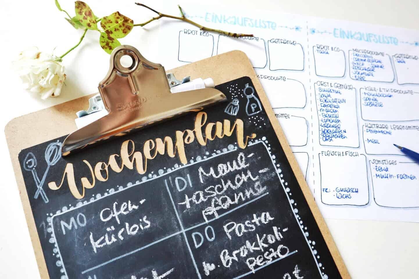 Wochenplan für die Küche und Einkaufsliste mit System | Mama-Alltag