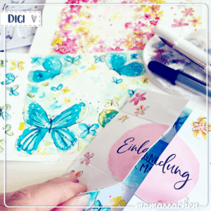 mamassachen endloskarte aquarelle Schmetterlinge Blumen Blümchen