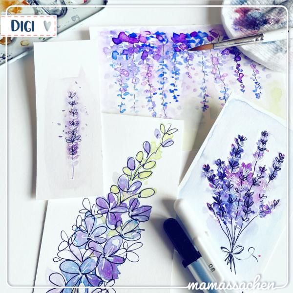 mamas sachen aquarell digicards aquarelldigis lila blumen